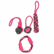 4x Hundespielzeug, Kauseil mit Ball und Griff, aus Baumwolle, in grau/pink