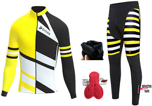Mens Cycling Jersey Cold Wear Thermal Top & Cycling Tights Pants For Winter