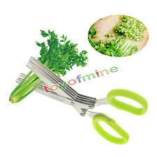 Stainless Steel 5 Shears Blade Cut Shredding Scissors Sharp Herb Kitchen Tool FE