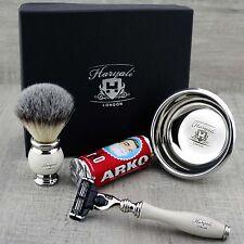 Men Classic Shaving Set Synthetic Brush & Gillette Mach 3 Grooming Kit