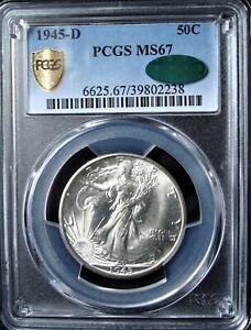 1945-D Walking Liberty Silver Half Dollar - PCGS MS 67 - Gold Shield - CAC