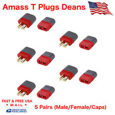 5 pairs Amass T PLUG Deans style connectors w/ insulating caps 10AWG USA RC