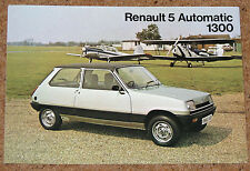 RENAULT 5 AUTOMATIC 1300 Sales Leaflet Brochure circa 1978-79