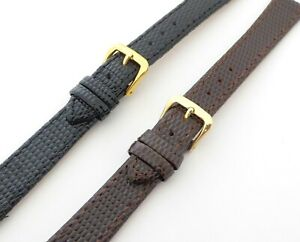 Premium Quality Lizard Grain Genuine Leather Strap with Gold Plated Buckle