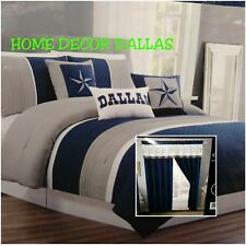 14pc Dallas Cowboys Comforter Oversized King Sheet set Gray Curtains White Star