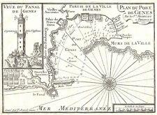 Antique map, Plan du Port de Genes et Vue du Fanal de Genes