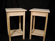 Set of 2 unfinished wooden Dorm table night stand end table wall table w/shelf