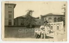 Kids Girls in Hats Sit on Bench Pose With Little Poodle Dog Vintage 1910s Photo