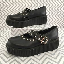 Demonia Black Buckle Mary Jane Gangster Punk Platform Creepers Women's Size 7