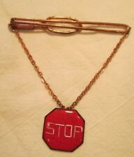 RARE VINTAGE 1930-40's HANGING RED ENAMEL STOP SIGN CHARM on COPPER TIE BAR CLIP