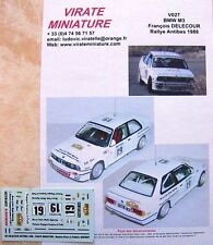 V027 BMW M3 FRANCOIS DELECOUR 3° RALLYE D'ANTIBES 1988 DECALS VIRATE MINIATURE