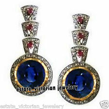 Gemstone Studded Silver Earring Jewelry Victorian 3.62Cts Pave Rose Cut Diamond