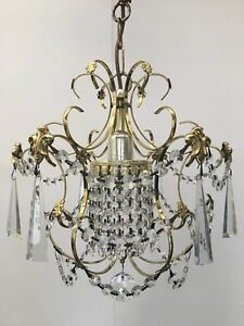 Antique French Style Crystal Brass Light Ceiling Pendant Chandelier Glass QP107