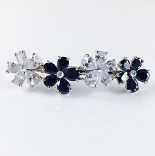 USA BARRETTE use Swarovski Crystal Hair Clip Hairpin Elegant Flower Black 31