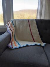 Handmade Crochet Blanket, Throw, Afgan 45x28, White, Pink, Purple, Blue