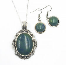 Irish Connemara Marble Necklace and Dangle Wire Earrings Set