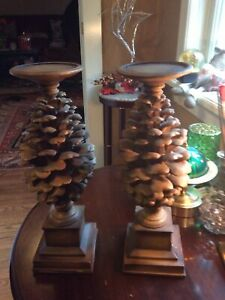 """Pedestal Candle Holders Stacked Pine Cones Round Base Set of 2 Holds 3"""" Candle"""