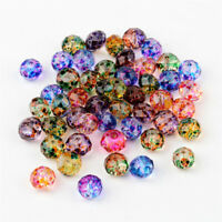50pcs Rondelle Faceted Spray Painted Glass Beads Mixed For Jewelry Making 10x8mm
