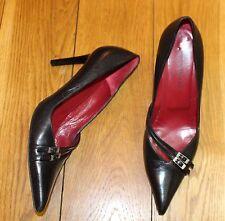 Karen Millen Size 6.5 UK 39.5 Black Classy Court Shoes Slim Heel 100% Leather VG