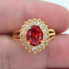 18K Yellow Gold Filled Red Topaz Solitaire Engagement Ring Jewelry