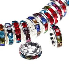 100 pcs Czech Crystal Rhinestone Silver Rondelle Spacer Beads 4,5,6,8,10,12mm