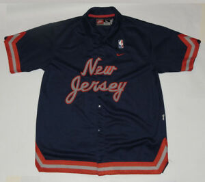 VINTAGE NIKE NJ NEW JERSEY NETS '77 SNAP-UP JERSEY/WARM-UP SHIRT! YOUTH SIZE L