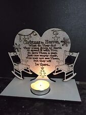 CHRISTMAS IN HEAVEN POEM ON HEART TEA LIGHTER HOLDER AND 2 CHAIRS...