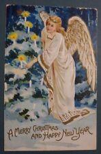 CARTOLINA IN RILIEVO - BUON NATALE ALBERO E ANGELO - PRIMI '900