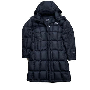 Womens M The North Face Black Hooded Long Down Puffer Parka 600 Fill