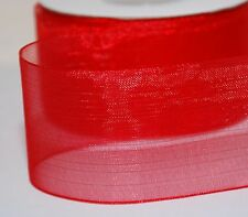 22 NEW Colours !!!  Woven Edge Organza Sheer Chiffon Wedding Ribbon CUT Lenght