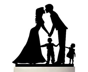 SILHOUETTE BRIDE/GROOM/BOY/GIRL/KIDS WEDDING CAKE TOPPER-BLACK ACRYLIC-FAMILY