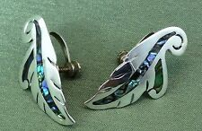 Vintage Antique 925 Fine Sterling Silver Taxco Mexico Abalone Shell Earrings