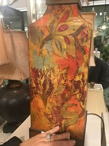 """DESIGNER INSPIRED COLORFUL FLORAL PRINT TABLE LAMP HOME DECOR XXL 32"""" UTTERMOST"""
