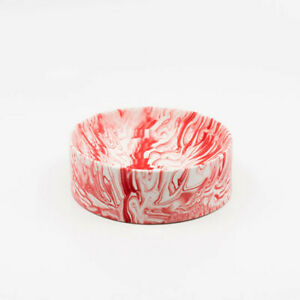 Troels Flensted Handmade Poured Bowl Solid White Red Small