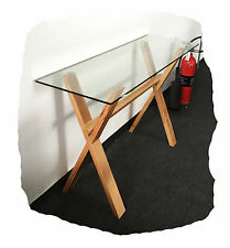 Zara 1200x400 Clear Glass & Natural Rubberwood Hall Table - BRAND NEW