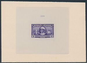 NICARAGUA #C252P NY WORLD'S FAIR DIE PROOF ON INDIA ON CARD W/ CONTROL # BS3501