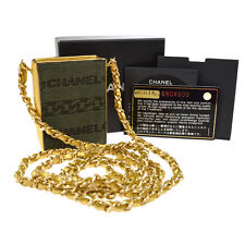 Authentic CHANEL CC Logos Mini Necklace Pouch Chain Bag Gold Khaki Fur AK16833e