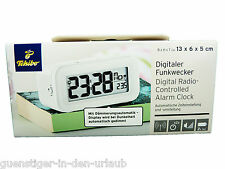 TCM Tchibo Digitaler Funkwecker Wecker automatische Zeiteistellung weiss NEU