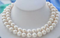 10-11MM NATURAL SOUTH SEA WHITE PEARL NECKLACE 36""