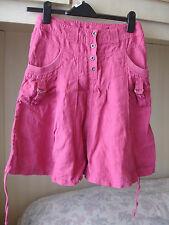 Next Linen Hot Pink Skater Style Skirt with Pockets Scrunched Sides BNWT