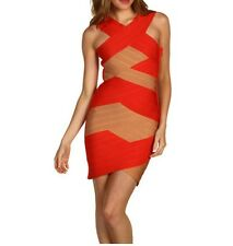 Stretta Bandage Dress Womens M Medium Dark Red Orange Tan Sofia A147