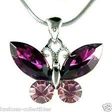 Purple w Swarovski Crystal ~Butterfly~ Jewelry charm Pendant Chain Necklace Xmas