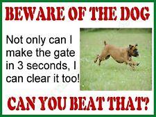 Retro Metal Plaque:Beware of the Dog (Boxer) Sign/ad