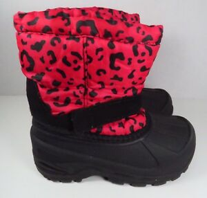 Girls Pink and Black Animal Print Snow Boots in Size 9 (Toddler)
