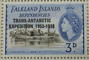 FALKLAND ISLAND DEPENDENCIES 1956 SG G43 3d. TRANS-ANTARCTIC EXPEDITION  -  MNH