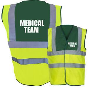 MEDICAL TEAM Hi Vis Two Tone Paramedic Green / Yellow Hi Viz Safety Vest / Wa...