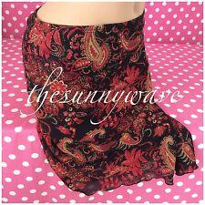 Copper Key Asymmetrical Paisley Skirt Red Black Floral Knee-Length Straight S