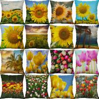 18'' Sunflowers Rose Pillow Case Home Decoration Cotton Linen Cushion Cover