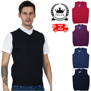 Relco Mens Fine Gauge Knit Tank Top V Neck Collar in 4 Colours Knitted Retro Mod