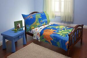 Everything Kids 4 Piece Toddler Bedding Set Dinosaurs Pillowcase Blue for Boys
